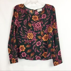 Everly Floral Print Long Sleeve Blouse